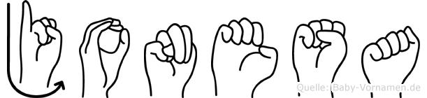 Jonesa im Fingeralphabet der Deutschen Gebärdensprache