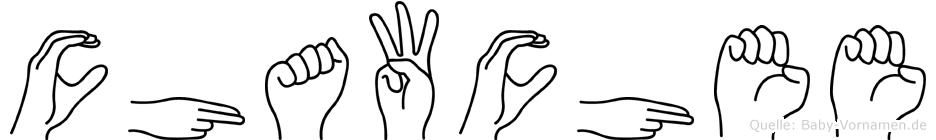 Chawchee im Fingeralphabet der Deutschen Gebärdensprache