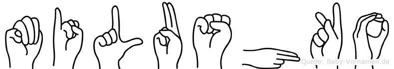 Milushko im Fingeralphabet der Deutschen Gebärdensprache