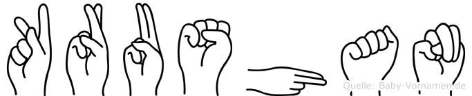 Krushan im Fingeralphabet der Deutschen Gebärdensprache