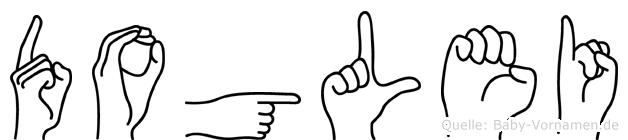 Doglei im Fingeralphabet der Deutschen Gebärdensprache