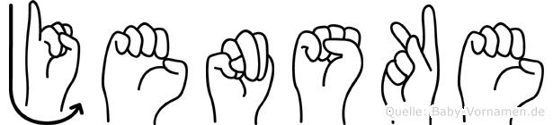 Jenske in Fingersprache für Gehörlose