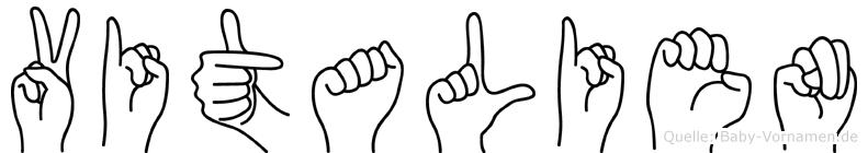 Vitalien im Fingeralphabet der Deutschen Gebärdensprache