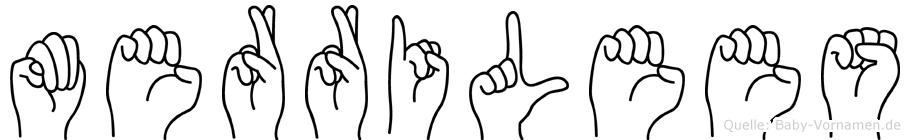 Merrilees im Fingeralphabet der Deutschen Gebärdensprache