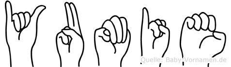 Yumie im Fingeralphabet der Deutschen Gebärdensprache