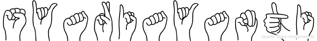 Syariayanti im Fingeralphabet der Deutschen Gebärdensprache