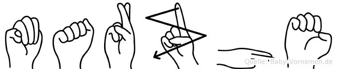 Marzhe im Fingeralphabet der Deutschen Gebärdensprache