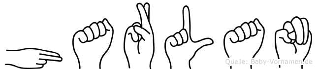 Harlan im Fingeralphabet der Deutschen Gebärdensprache