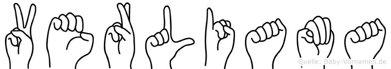 Verliama im Fingeralphabet der Deutschen Gebärdensprache