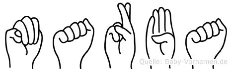Marba im Fingeralphabet der Deutschen Gebärdensprache