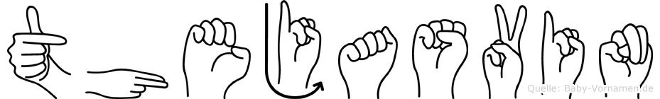 Thejasvin im Fingeralphabet der Deutschen Gebärdensprache