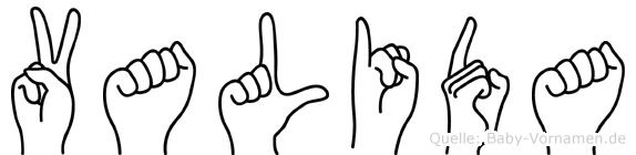 Valida im Fingeralphabet der Deutschen Gebärdensprache
