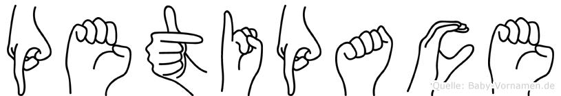 Petipace im Fingeralphabet der Deutschen Gebärdensprache