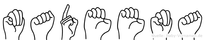 Madeena im Fingeralphabet der Deutschen Gebärdensprache