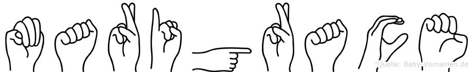 Marigrace im Fingeralphabet der Deutschen Gebärdensprache