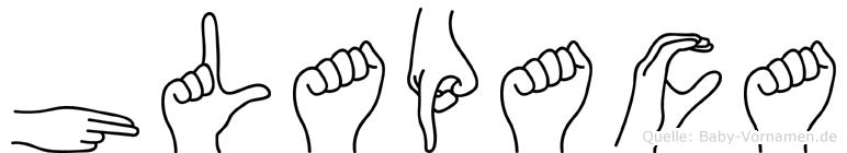 Hlapaca im Fingeralphabet der Deutschen Gebärdensprache