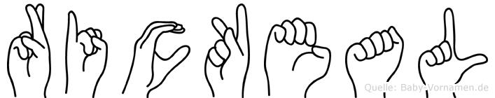 Rickeal im Fingeralphabet der Deutschen Gebärdensprache