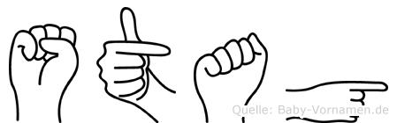 Stag im Fingeralphabet der Deutschen Gebärdensprache