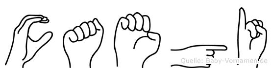 Caegi im Fingeralphabet der Deutschen Gebärdensprache