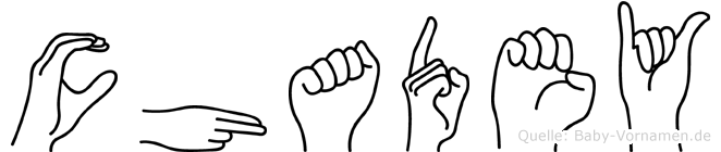 Chadey im Fingeralphabet der Deutschen Gebärdensprache