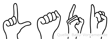 Ladi im Fingeralphabet der Deutschen Gebärdensprache