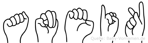 Aneik im Fingeralphabet der Deutschen Gebärdensprache