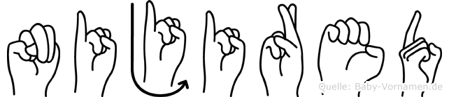 Nijired im Fingeralphabet der Deutschen Gebärdensprache