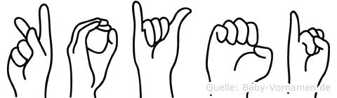 Koyei im Fingeralphabet der Deutschen Gebärdensprache