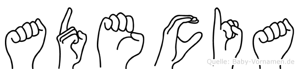 Adecia in Fingersprache für Gehörlose