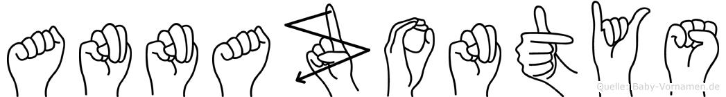 Annazontys im Fingeralphabet der Deutschen Gebärdensprache