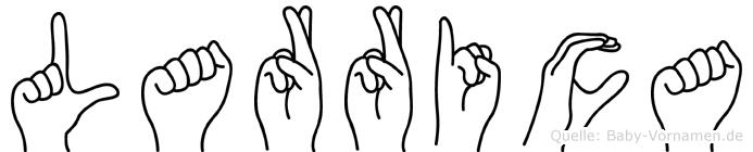 Larrica im Fingeralphabet der Deutschen Gebärdensprache