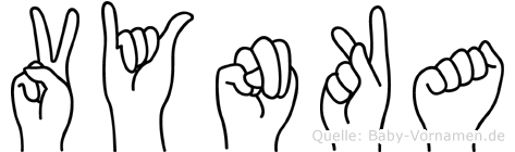 Vynka im Fingeralphabet der Deutschen Gebärdensprache
