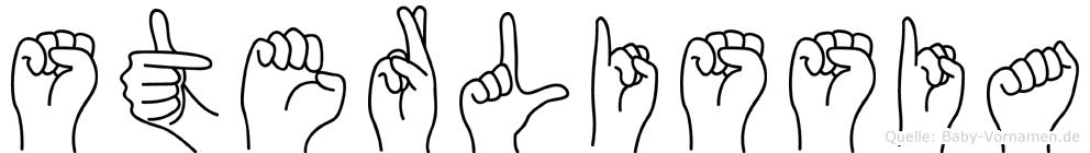 Sterlissia im Fingeralphabet der Deutschen Gebärdensprache