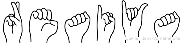 Reaiya im Fingeralphabet der Deutschen Gebärdensprache