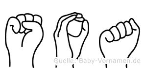 Soa im Fingeralphabet der Deutschen Gebärdensprache
