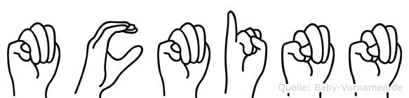 Mcminn im Fingeralphabet der Deutschen Gebärdensprache