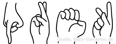 Prek im Fingeralphabet der Deutschen Gebärdensprache