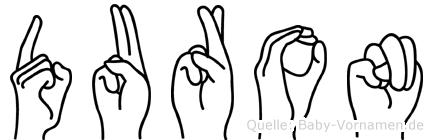 Duron im Fingeralphabet der Deutschen Gebärdensprache