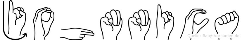 Johnnica im Fingeralphabet der Deutschen Gebärdensprache
