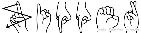Zipper in Fingersprache für Gehörlose