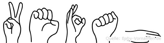Vefah im Fingeralphabet der Deutschen Gebärdensprache