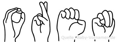 Oren im Fingeralphabet der Deutschen Gebärdensprache
