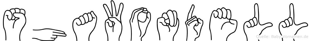 Shawondell im Fingeralphabet der Deutschen Gebärdensprache