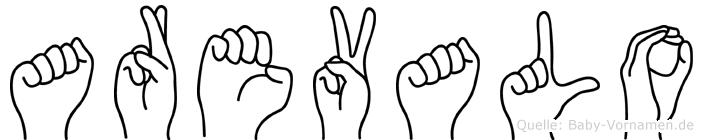 Arevalo im Fingeralphabet der Deutschen Gebärdensprache