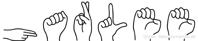 Harlee im Fingeralphabet der Deutschen Gebärdensprache