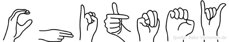 Chitney im Fingeralphabet der Deutschen Gebärdensprache
