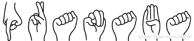 Pranaba im Fingeralphabet der Deutschen Gebärdensprache