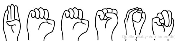 Beeson im Fingeralphabet der Deutschen Gebärdensprache