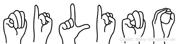 Milino im Fingeralphabet der Deutschen Gebärdensprache