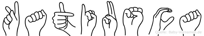 Katiusca im Fingeralphabet der Deutschen Gebärdensprache